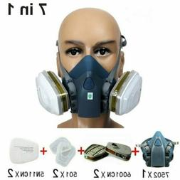 7in1 Half Face Gas Mask Facepiece Spray Painting 7502 Respir