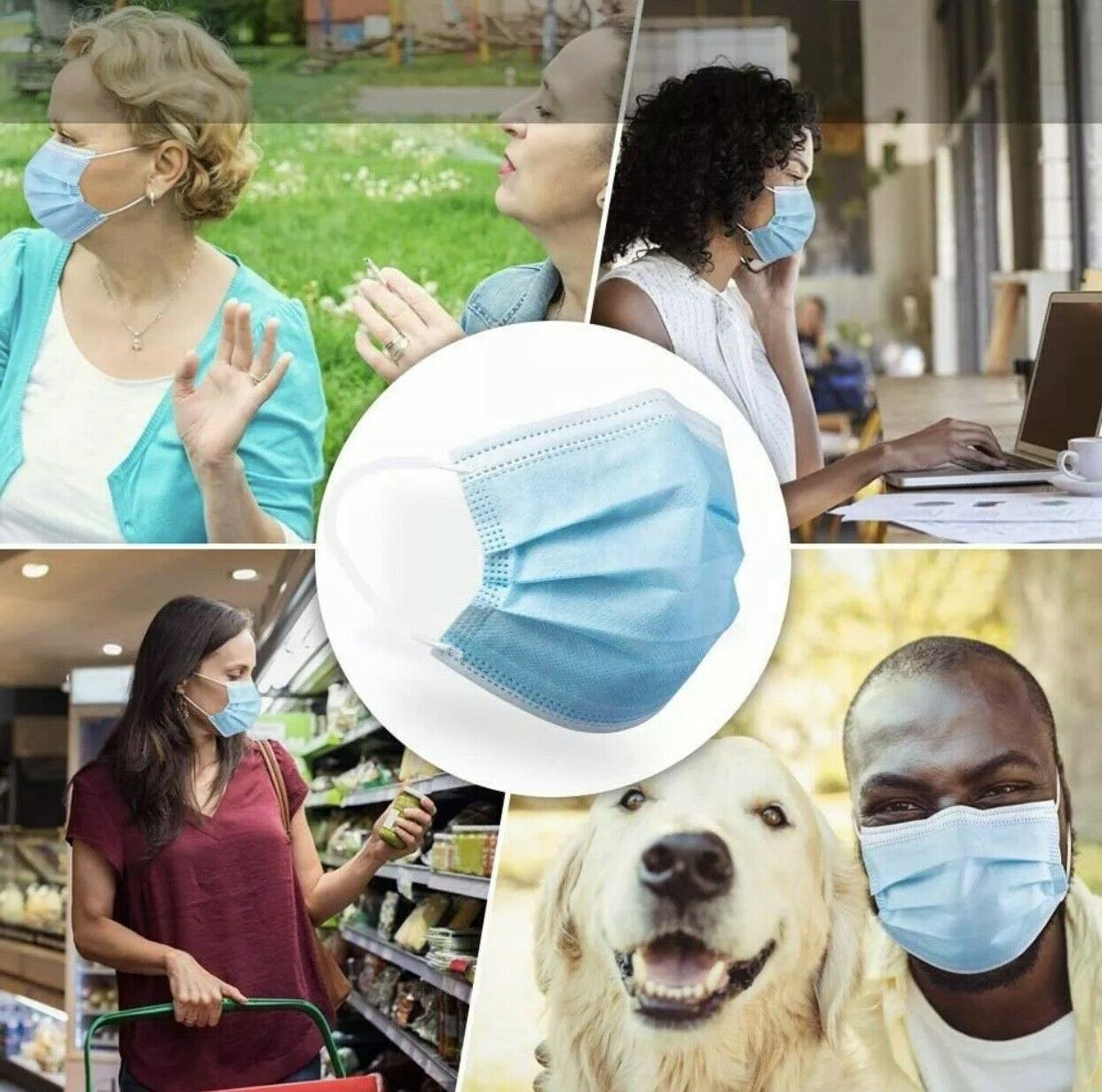 100 Blue Mask Mouth Protector with Filter