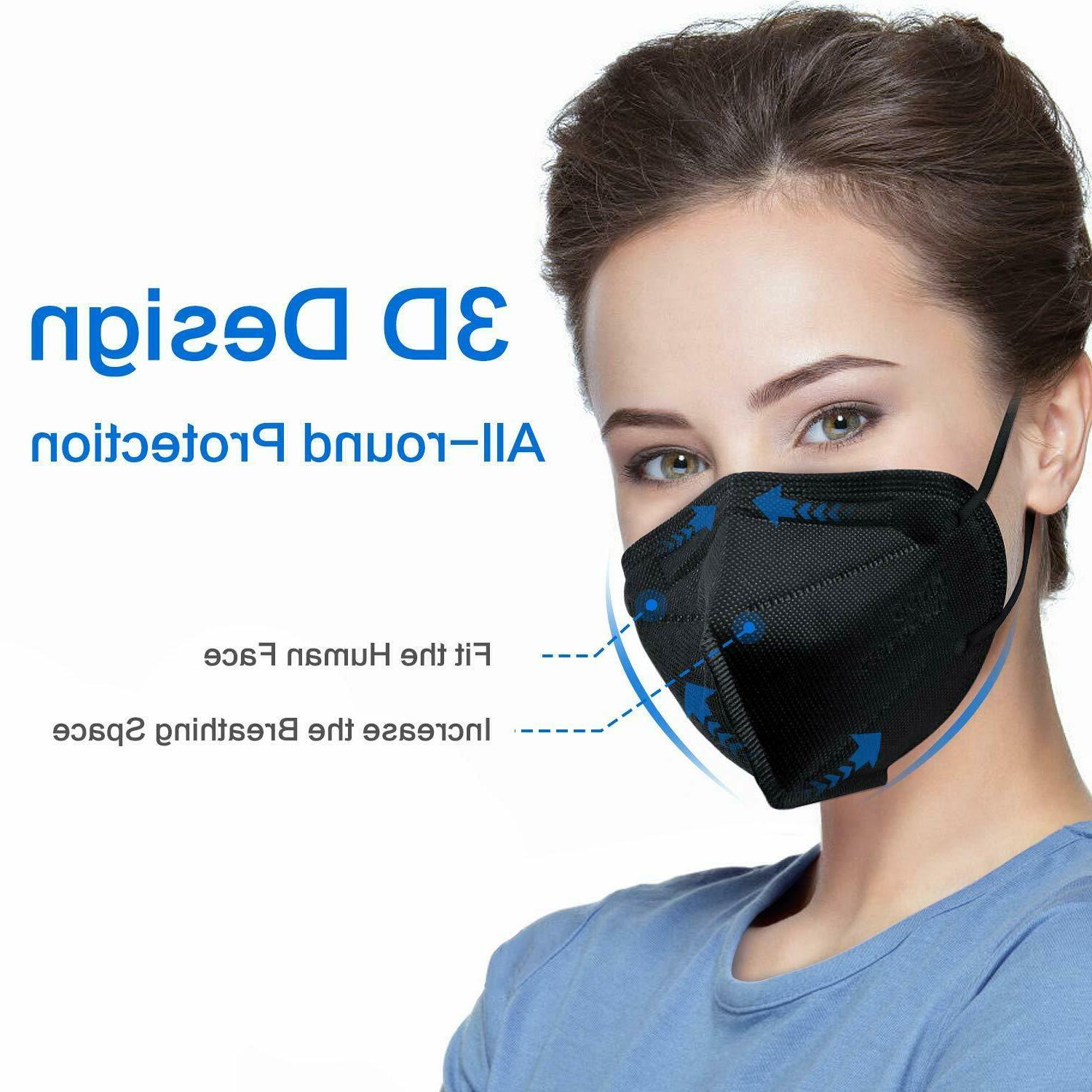50/100 Black KN95 Protective 5 Mask Disposable