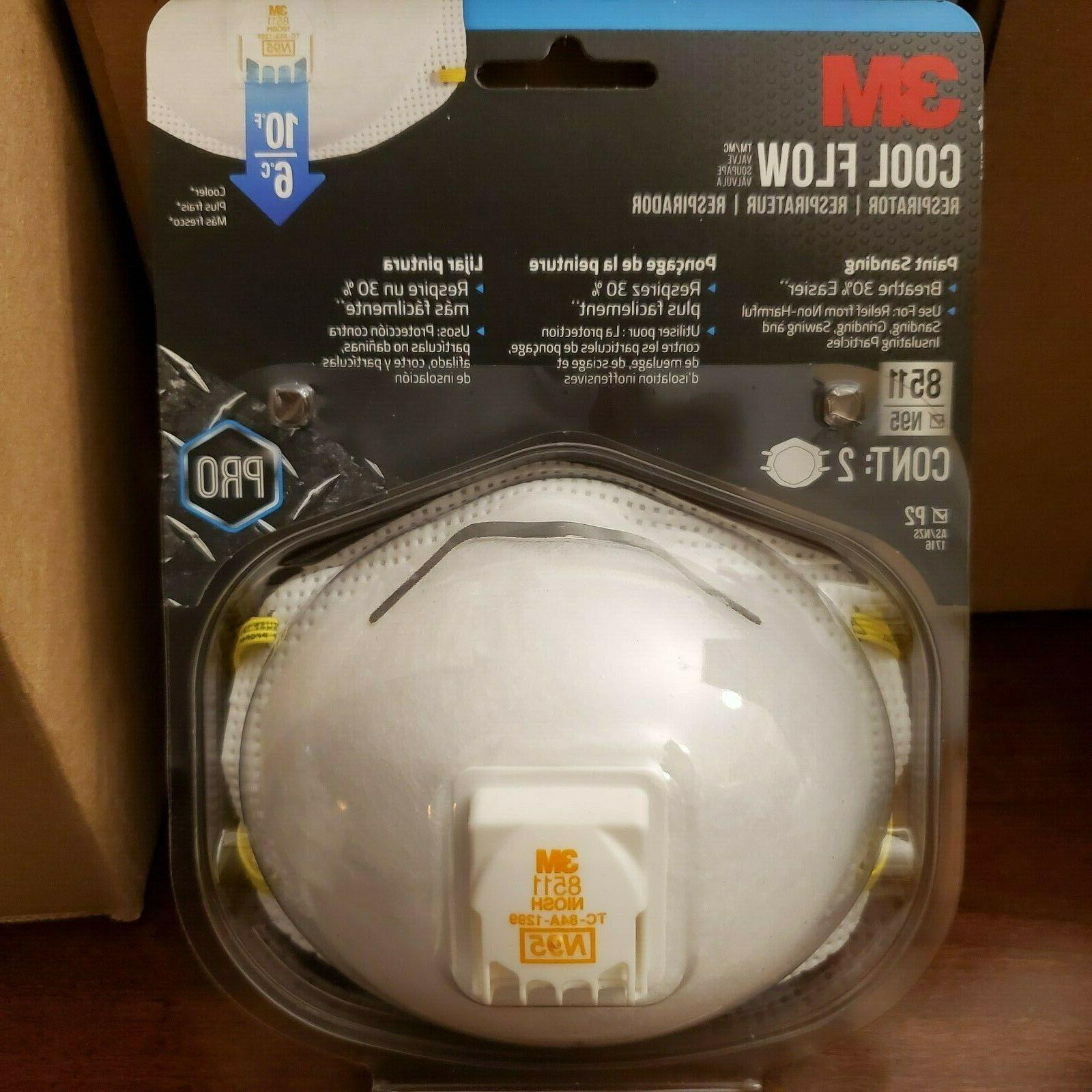 3M 8511 N95 Respirator Mask Cool Flow Valve Fast Shipping 2,