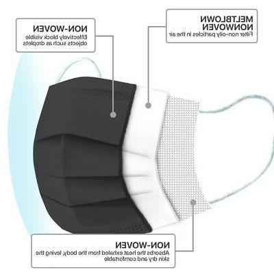 Black Disposable Face Mask 3-Ply Non-Medical Protective Cover