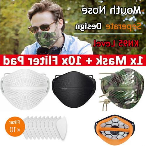 reusable separate nose mouth mask with carbon