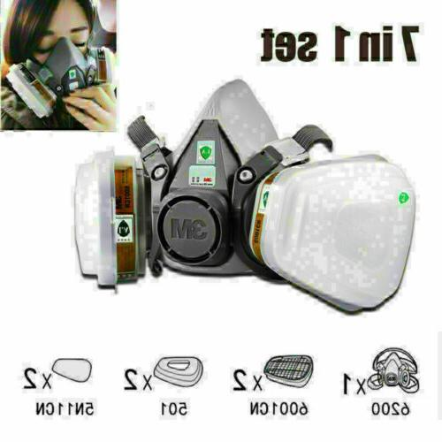 7 IN 1 Half Face Mask for 6200/ 7502 Gas Painting Spray Prot