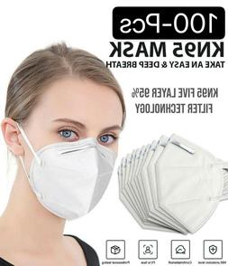 Lot 10-100 White KN95 Protective 5 Layer Face Mask Disposabl