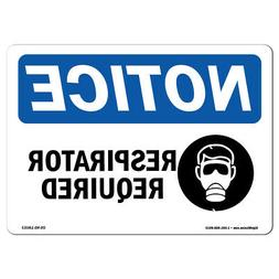 OSHA Notice - Respirator Required Sign With Symbol | Heavy D
