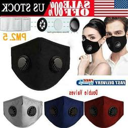 reusable breathing double valve face mask washable