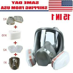 US Full Face Gas Mask Painting Spraying Respirator w/Filters