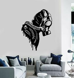 Vinyl Wall Decal Biohazard Gas Mask Respirator Military Deco